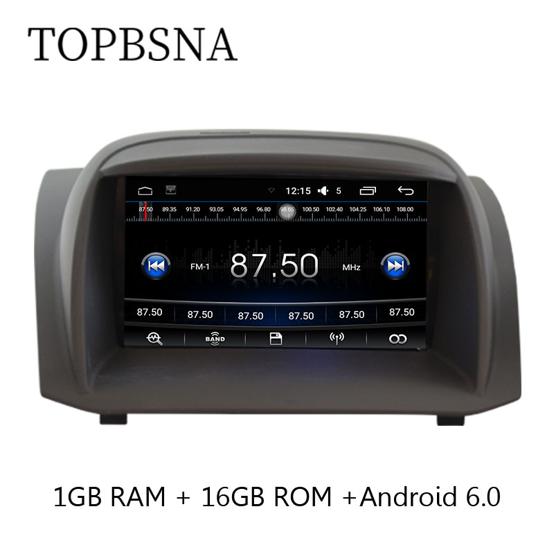 TOPBSNA 7 Inch 2 Din Quad Core 1G+16G Android 6.0 Car DVD Player For Ford Fiesta GPS Navigation Radio Canbus USB FM wifi Can bus