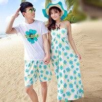 Matching Couple D'été Femmes Robe de Plage Boho Halter Robe Lune de Miel Porter T-shirt Vêtements amants du Jour de Valentine Longue Maxi Robe