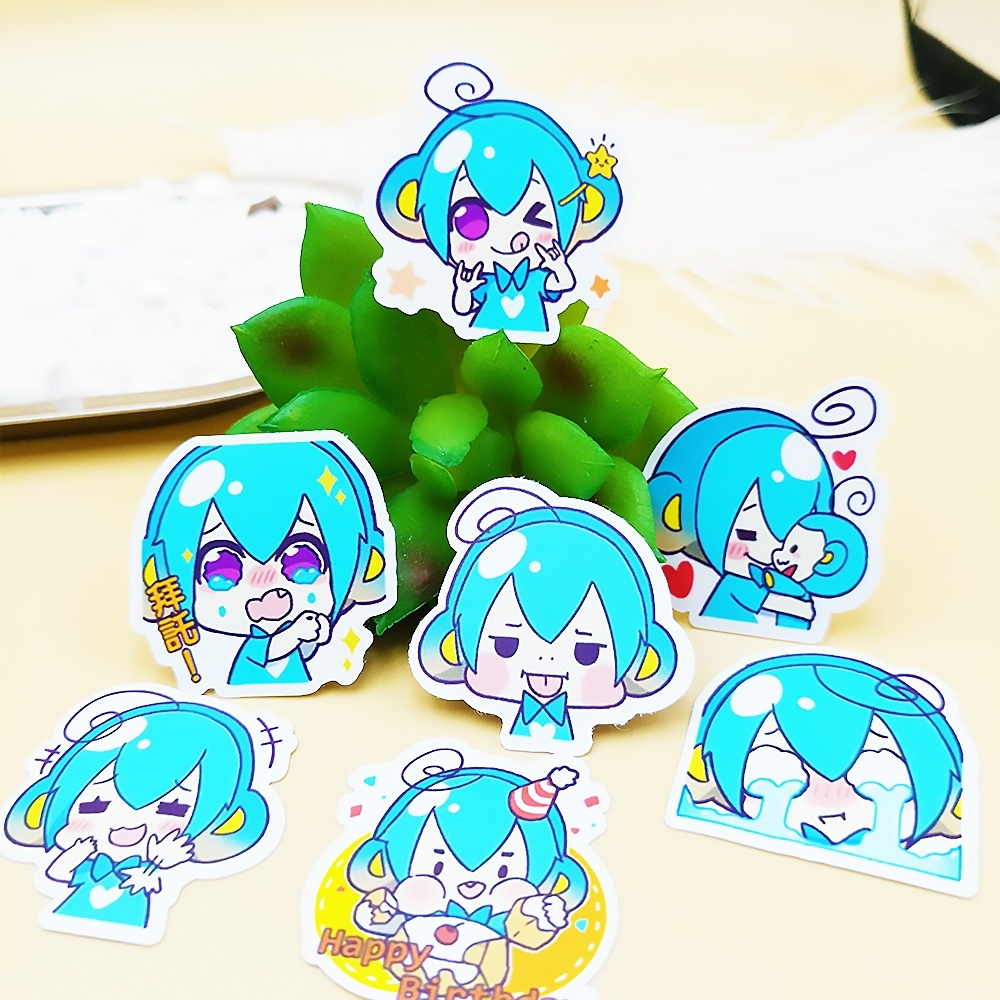 Stationery Stickers Sunny 20/40pcs Cute Blue Hair Girl Daily Life Diy Sticker Diary Gift Decoration Scrapbooking Paper Random Does Not Repeat Grade Products According To Quality
