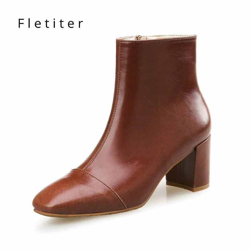 Fletiter ใหม่ของผู้หญิงฤดูใบไม้ร่วงฤดูหนาวของแท้รองเท้าหนังผู้หญิง Basic ข้อเท้าสูงรองเท้าบูทปั๊มส้นรองเท้า