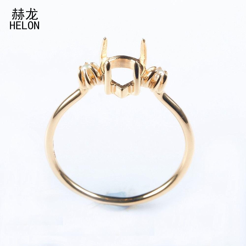 Helon SOLID 14 К желтое золото 6x8 мм Груша Cut Маунт Semi зубец Установка пресноводный жемчуг Для женщин обручение обручальное кольцо Ювелирные украш