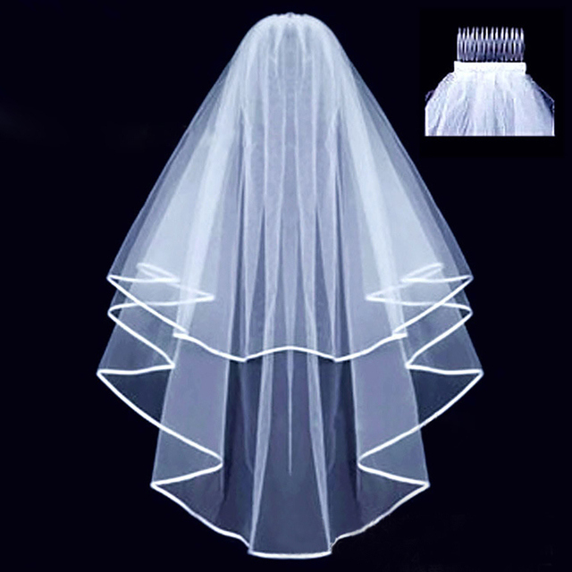 Cheap Short Bridal Wedding Veil With Comb White Ivory Two Layers Veils Accessories Tulle Voile