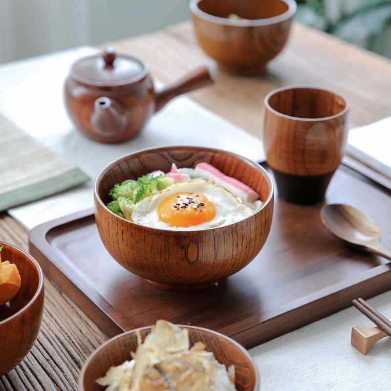 Japanese Style Salad Rice Noodles Bowls Natural Wood Tableware Wooden Bowl Soup 1pcs