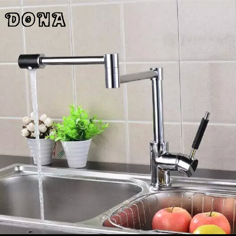 360 degree Modern swivel Water Spout Bathroom Kitchen mixer tap single handle sink faucet of chrome brass kitchen tap DONA1179 free shipping high quality chrome brass kitchen faucet single handle sink mixer tap pull put sprayer swivel spout faucet