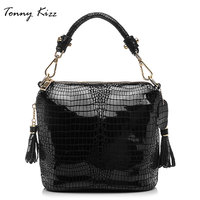 Tonny Kizz small bucket crossbody bags for women genuine leather shoulder bags alligator prints tote bags ladies handbags tassel