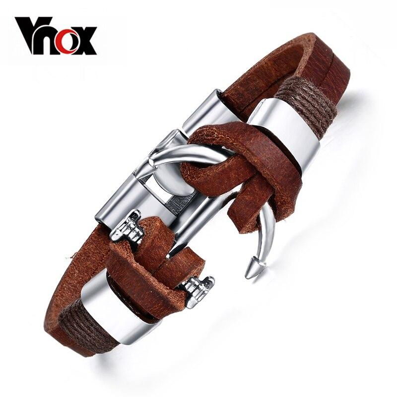 Vnox Brown Genuine Leather Bracelets Charm Menss