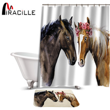 Miracille Creative Horses Pattern Shower Curtain Sets Bedroom Waterproof Fabric Coral Velvet Anti Slip Bath