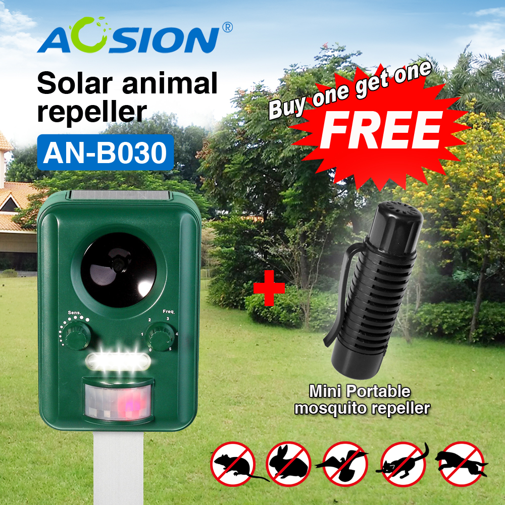 Livraison gratuite acheter AOSION solaire ultra sonique animaux oiseaux chiens chats répulsif répulsif (obtenir sonic Portable répulsif de moustiques gratuit)