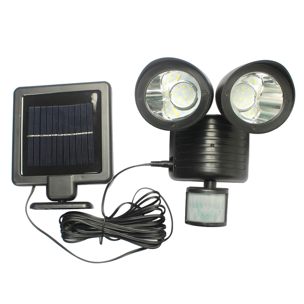 22 Led Two Heads Waterproof Lights Lamp Solar Powered Pir Motion Sensor Rotable Outdoor Indoor Garden Yard Wall Spotlight Outdoor Lighting