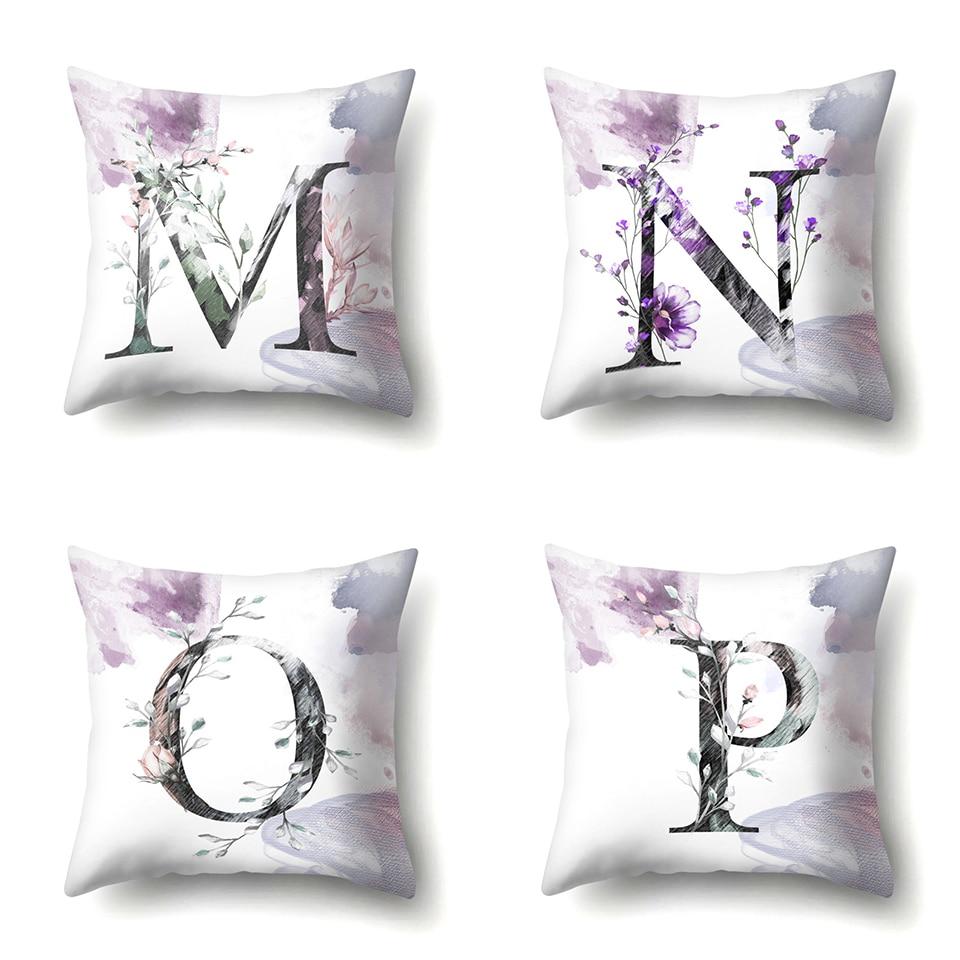 d Nordic Violet Letters Cushion Cover Printed Flowers Throw Pillow Covers Decorative Purple Farmhouse Decor Plants Home Decoration