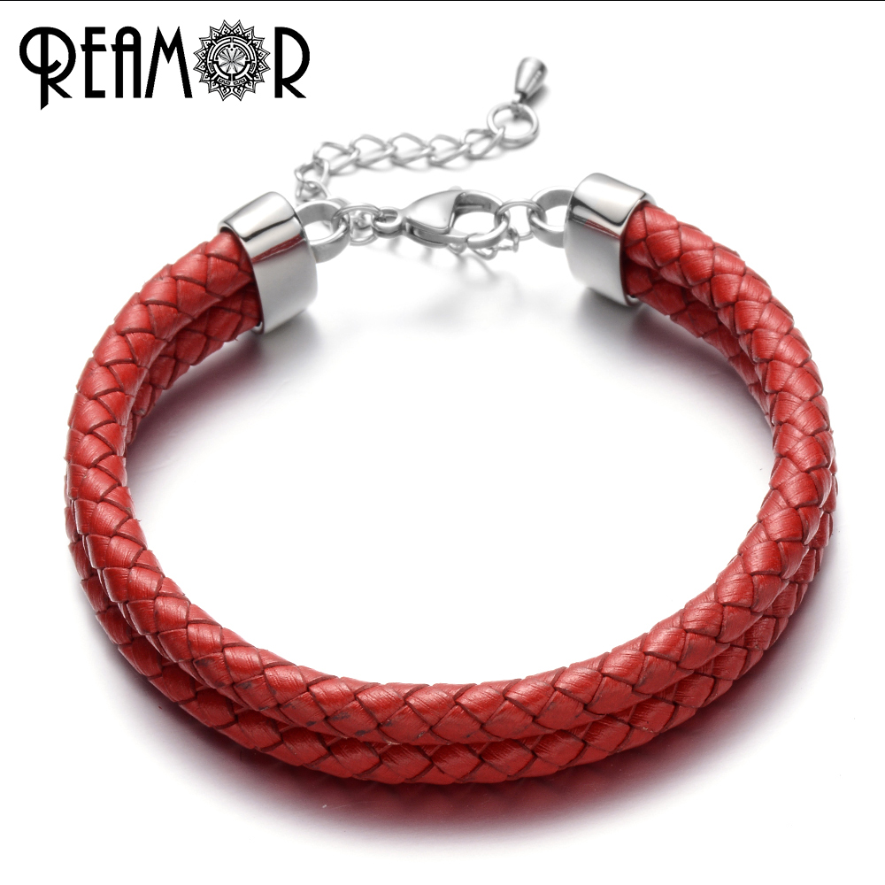REAMOR Trendy Woman Cuff Bracelets Red Leather Rope Simple Style Lucky Bangles Double Braided Leather Adjustable Chain Bracelet