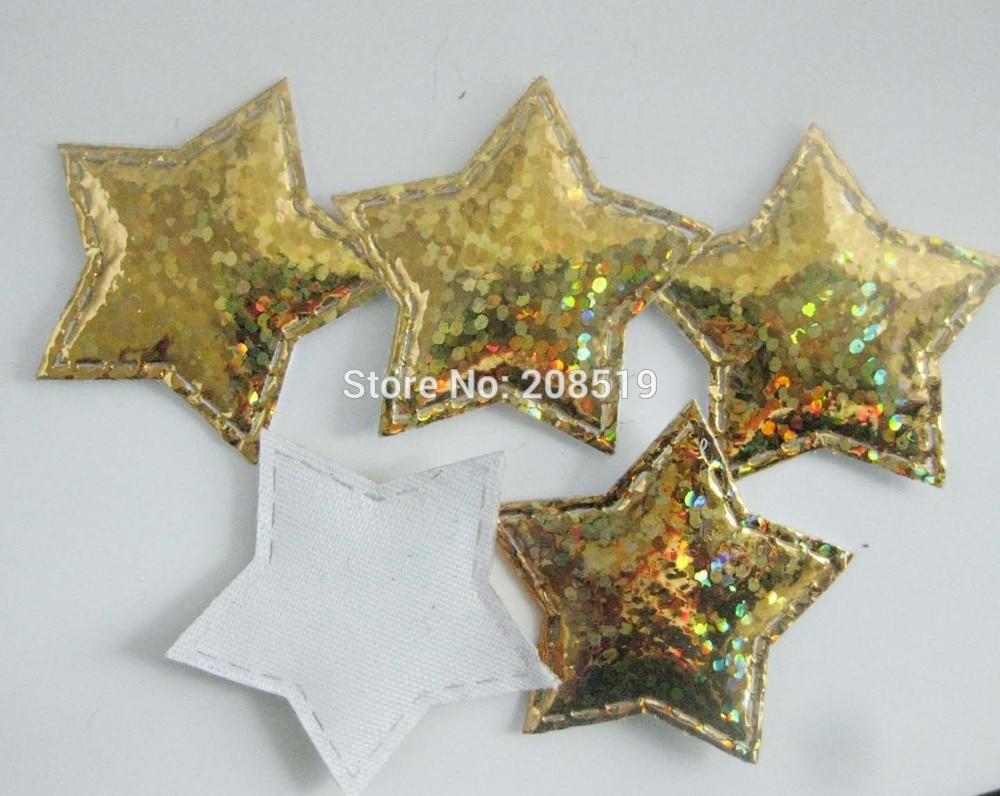 PA0050 микс 100 шт 3 см диско мерцание на золоте и серебряном войлоке звезды аппликации Декоративные ремесло и скрапбукинг материал - Цвет: only gold color