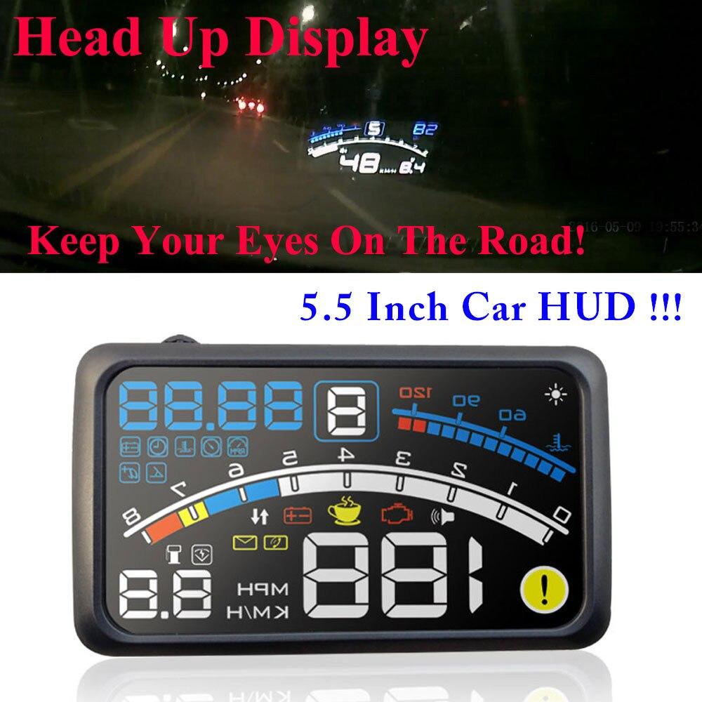 2017 4E 5.5 Head Up Display HUD OBD II EOBD Windshield Projector Self-adaptive Car Fuel etc Parameter Display Speeding Warning