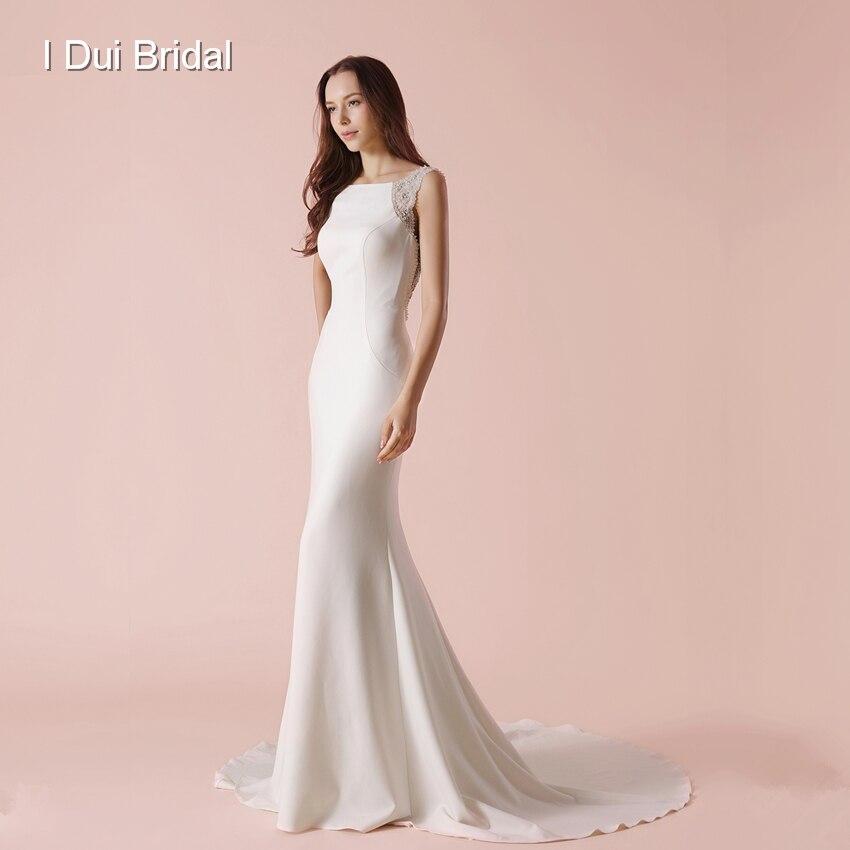 Bare Back Sheath Wedding Dress Luxury Jewel Beaded Elegant