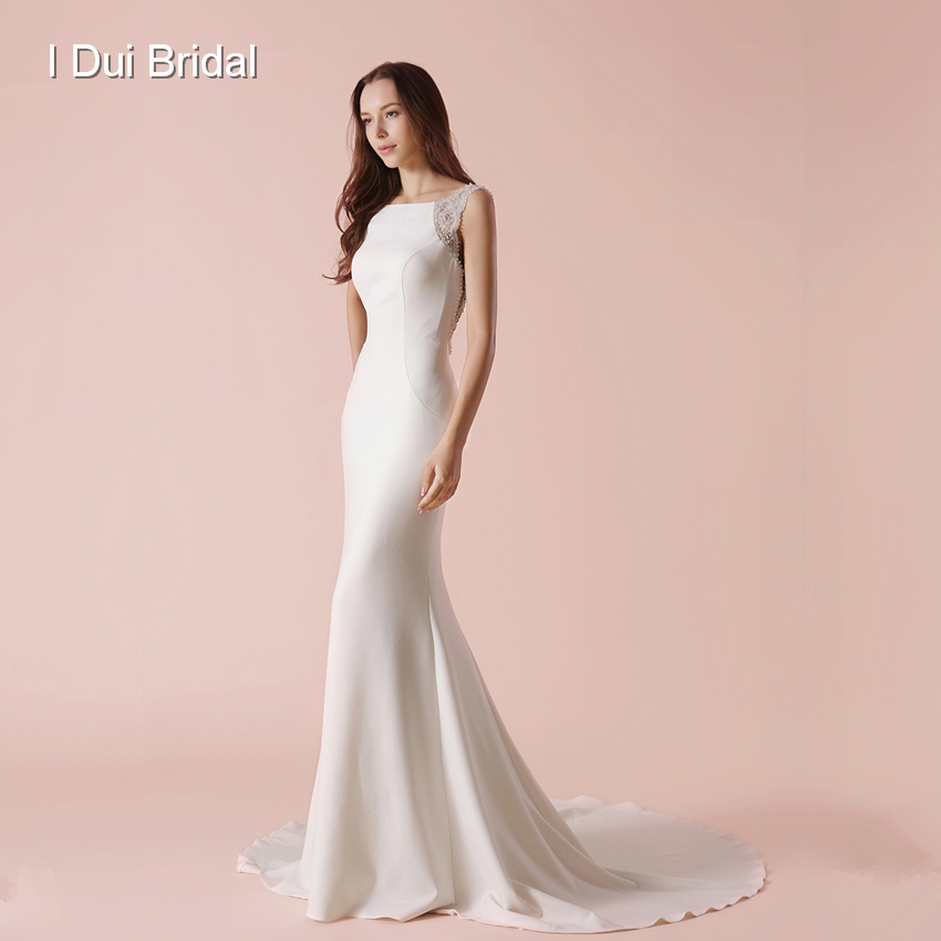 bf63e16232c9 Bare Back Sheath Wedding Dress Luxury Jewel Beaded Elegant Bridal Gown New  Style
