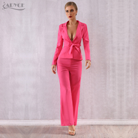 Adyce 2019 New Summer Women Club Celebrity Evening Party Set Coat&Pant Two Pieces Set Deep V Rose Red Long Sleeve Night Out Sets