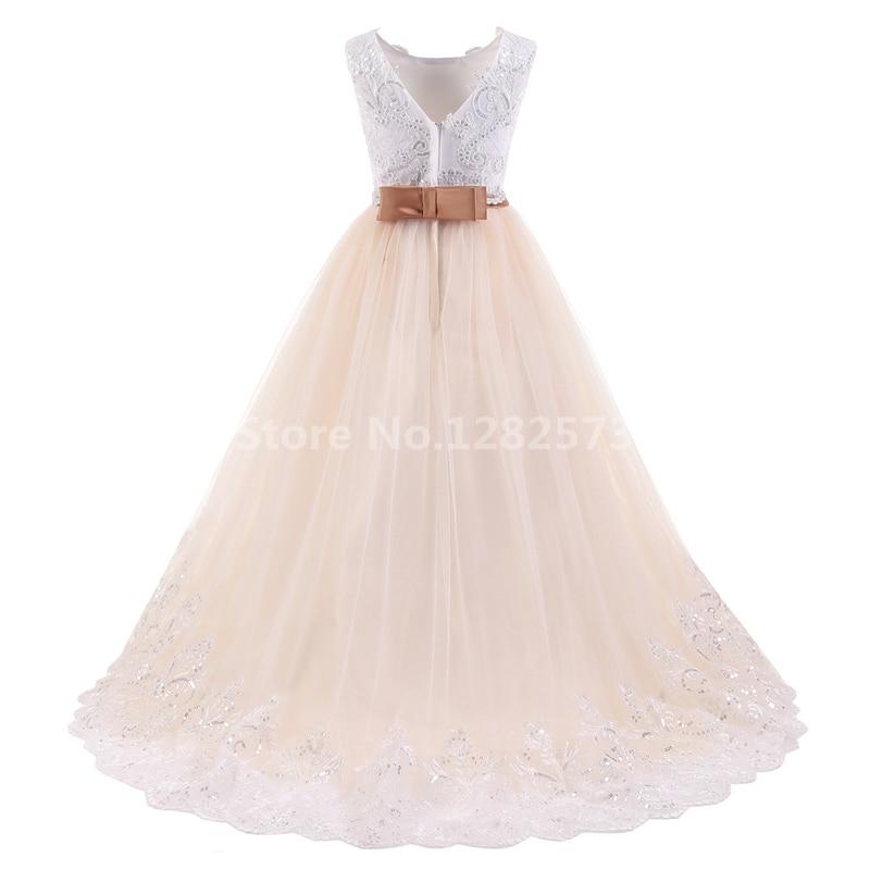 I lager Högkvalitativa blomstrande blonda flickasklänningar 2-12Y - Bröllopsfestklänningar - Foto 2
