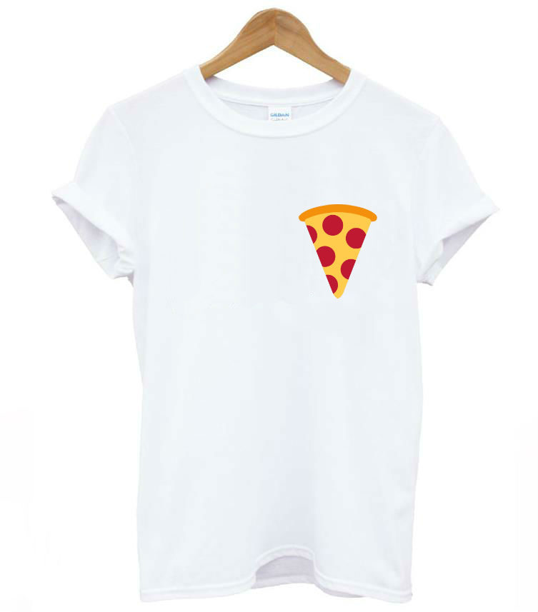 Pizza pocket print women t shirt casual cotton hipster for Pocket tee shirts for womens