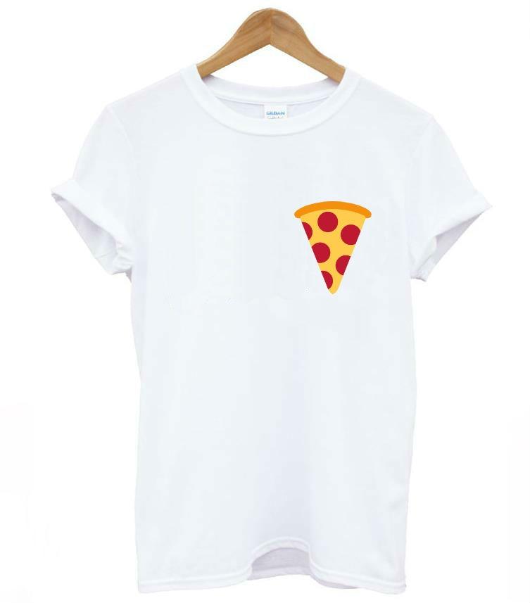 Pizza Pocket Print Women T Shirt Casual Cotton Hipster