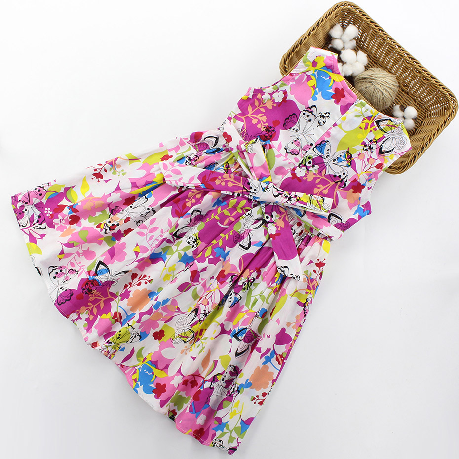 HTB1A9vAfyCYBuNkHFCcq6AHtVXac - Girls Dresses Summer Children Floral Dress 4 6 8 10 12 13 Year Bow Sleeveless Kids Dress For Girls Butterfly Girls Clothes