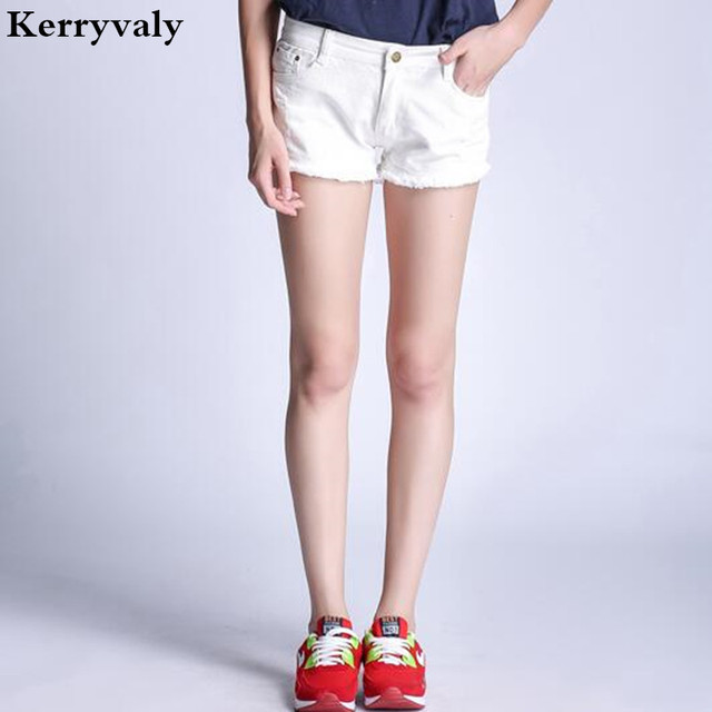 e57d24476 Bermuda Feminina Jeans Hotpants 2018 Summer High Waist Short Jeans Women  5XL Plus Size Shorts Women White Shorts K307