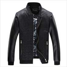 2016Men's leather jacket middle-aged men's casual stitching stand collar leather jacket spring autumn new men's jacket big yards