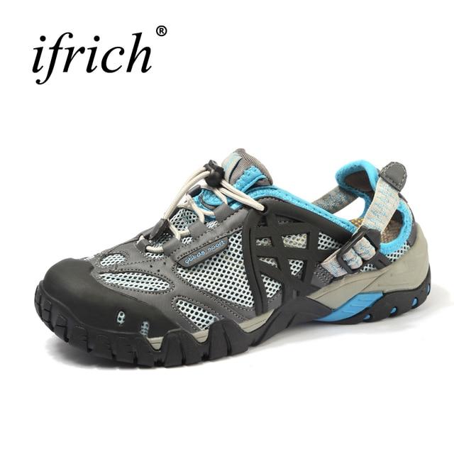 Лидер продаж Для женщин мужские сандалии Уличная обувь дышащие спортивные сандалии водонепроницаемая обувь кроссовки для рыбалки Для мужчин Пеший Туризм сандалии Быстросохнущие кроссовки