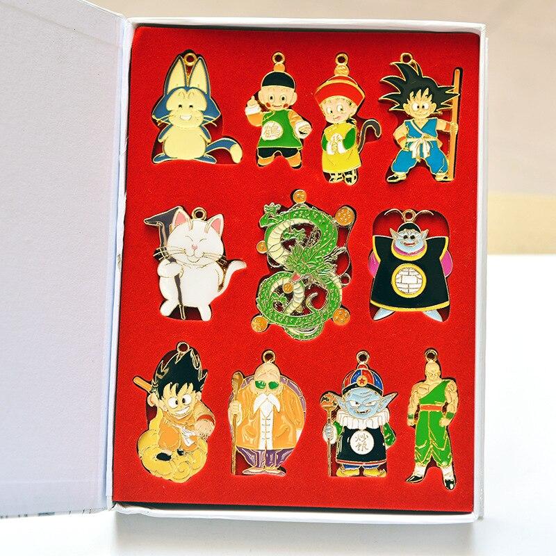 Dragon Ball Z figurines Shenron Goku maître Roshi Pendan alliages porte-clés ensemble jouets Badge porte-clés collier ensemble cadeau