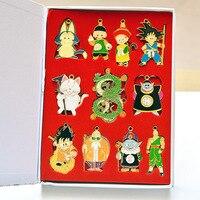 Dragon Ball Z Action Figures Shenron Goku Master Roshi Pendan Alloys Keychain Set Toys Badge Key Chain Necklace Gift Set