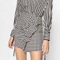 England style retro summer women mini slim skirt high waist paid pencil skirt asymmetrical ruffles femme elegant short skirt