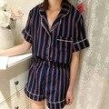 Verão Doce Curto-luva Profundo Decote Em V Sleepwear Fêmea Solta Listrado Calções Casuais Mulheres Pijama Terno