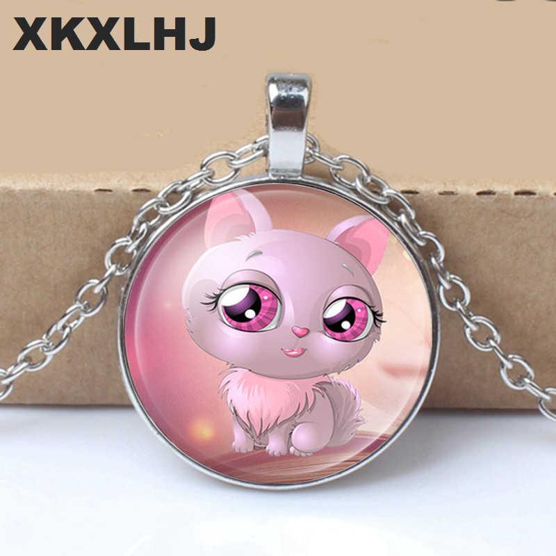 Meninas de alta qualidade banhado a prata bonito gato pingente de vidro colar para mulheres venda quente adorável crianças gato colar jóias