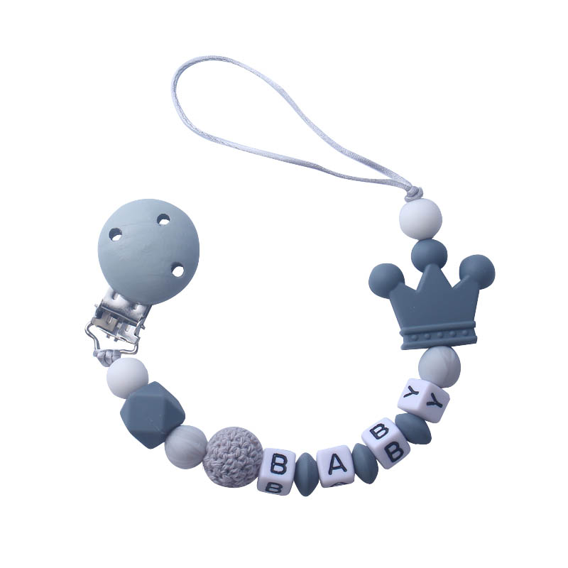 Pacifier Hold Wooden Dummy Clip Personalised Dummy Clip Grey Crown Chain