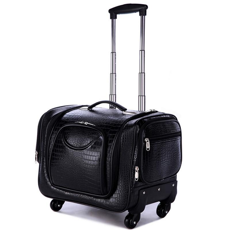 Professional Large multi-layer cosmetics box,universal wheels trolley luggage cosmetic,crocodile pattern,leopard bag