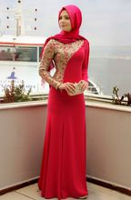 2016 Red Muslim Long Sleeve Formal Evening Gowns For Women Gold Embroidery Covered Islamic Abaya Chiffon Hijab Evening Dresses