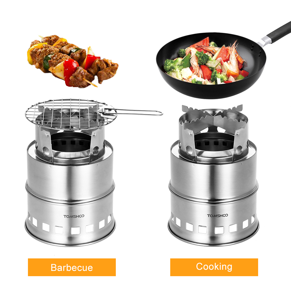 Image 4 - TOMSHOO Portable Folding Windproof Wood Burning Stove Compact Stainless Steel Alcohol Stove Outdoor Camping Hiking Backpacking-in Outdoor Stoves from Sports & Entertainment
