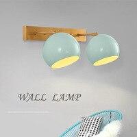 Post Modern Simple Bedroom Bedside Lamp Wall Lamp Mediterranean Sea Aisle Background Wall Creative American Lanterns Blue E27