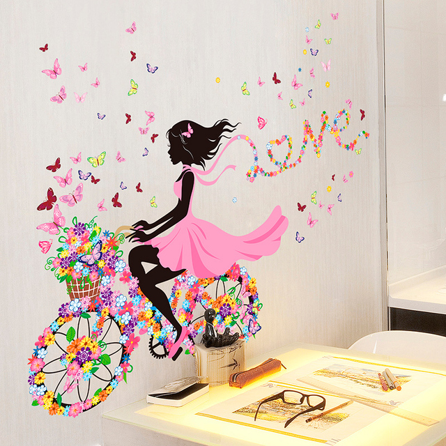 Fairy Girl Wall Stickers DIY Butterflies Flowers Birdcage for Kids Room-Free Shipping