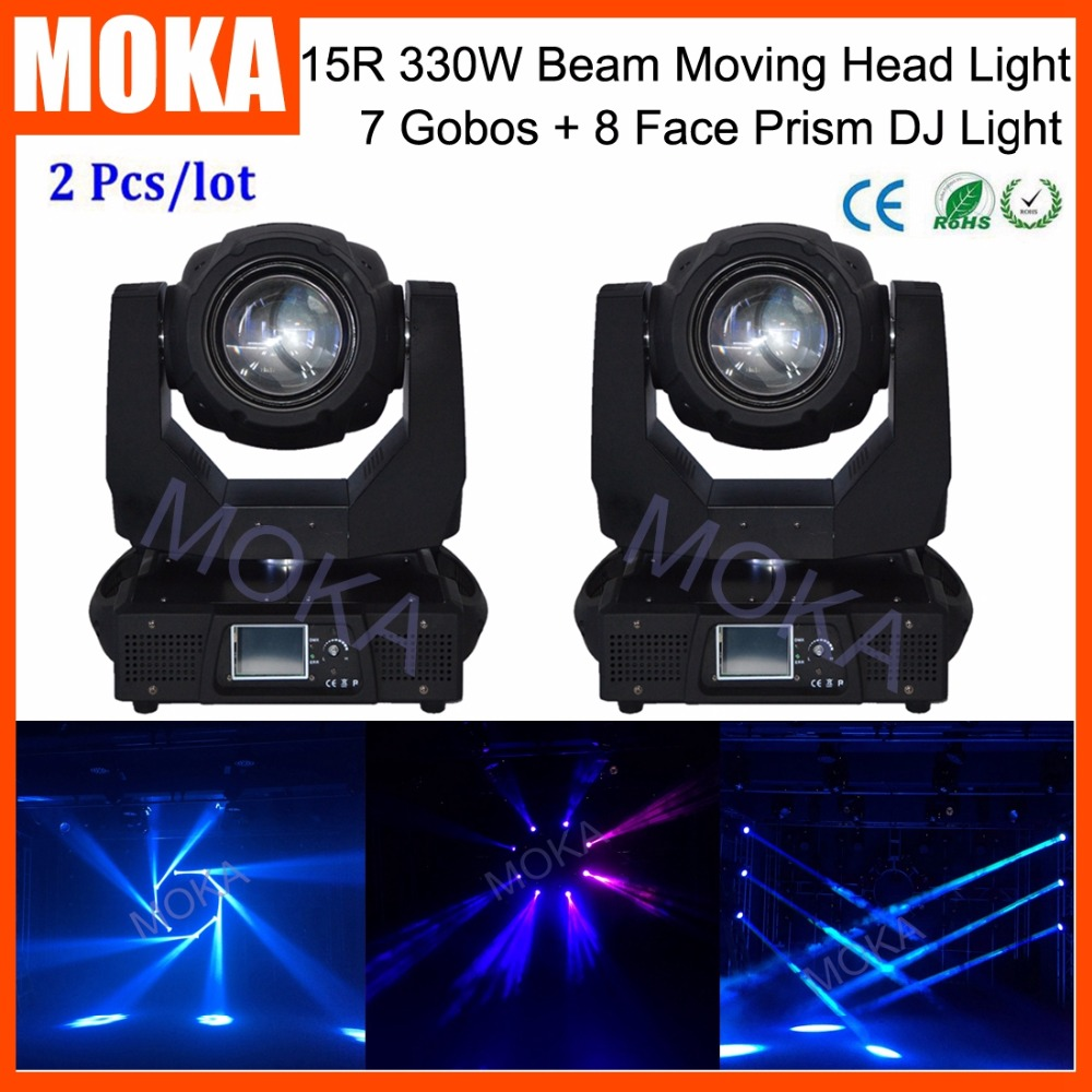 2 Pcs/lot Beam Spot 330W DMX 15R DJ Bar Moving Head Light For KTV Nightclub Big Show Event Venue TV Moving Making