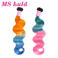 MS Lula Hair Brazilian Body Wave Ombre Orange&Blue/Pink&Blue Colored Hair 100% Human Hair Weave Remy Hair Free Shipping