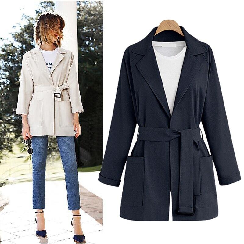 2018 Autumn Winter Fashion European   Trench   Coat For Women Windbreaker Turn-Down Collar Slim Long   Trench   Belt