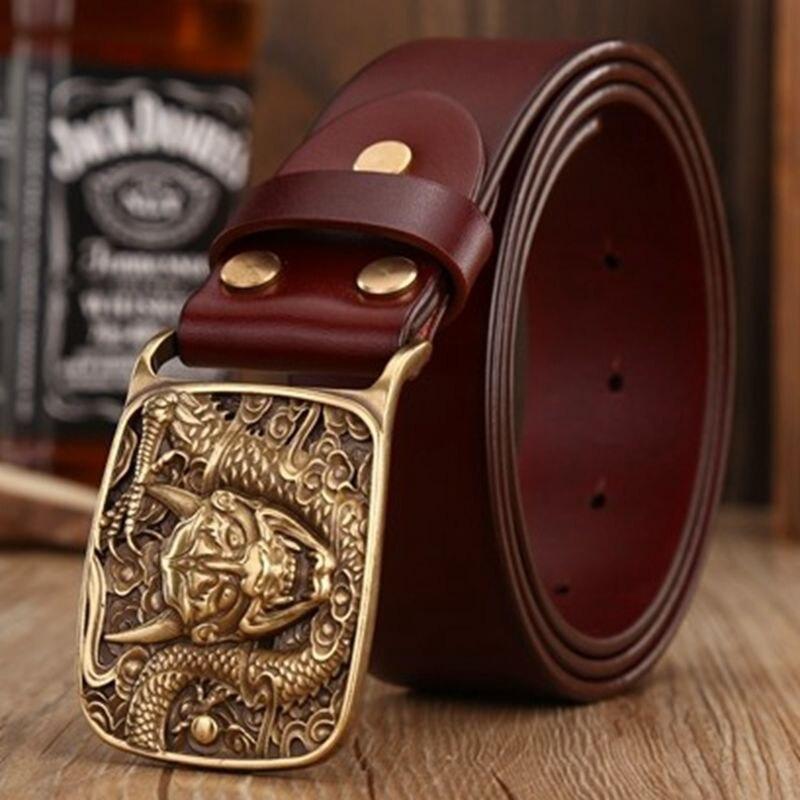 2018 rétro dragon plaque boucle ceintures pour hommes sangle jeans pleine fleur en cuir véritable ceinture café ceinture taille 120 cm scalpers - 3