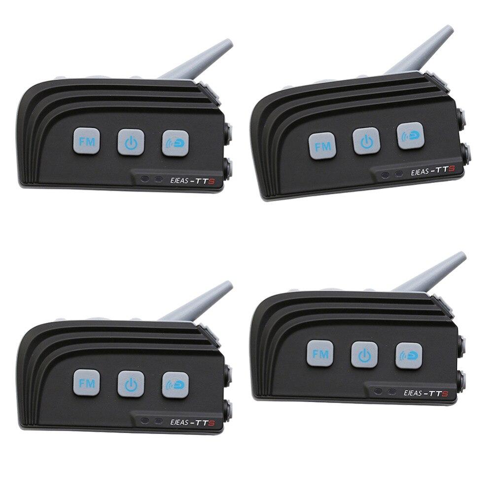 4 PC EJEAS TTS Double Interphone bluetooth Moto Casque BT Casque Kit Max 4 Coureurs Moto Interphone Communication Système Avec FM