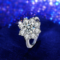 SHUANGR New Silver Color Dazzling Flower Charm Ring Clear CZ  Zircon with Pan Jewelry For Women Wedding Party anillos