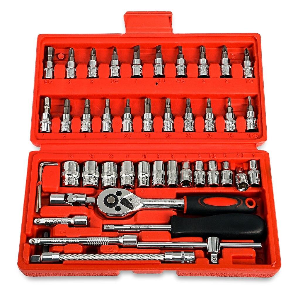 46pcs 1/4 Inch Car Repair Tool Socket Set Ratchet Torque Wrench Combo Tools Kit Auto Repairing Tool Set Vehicle Maintenance Tool