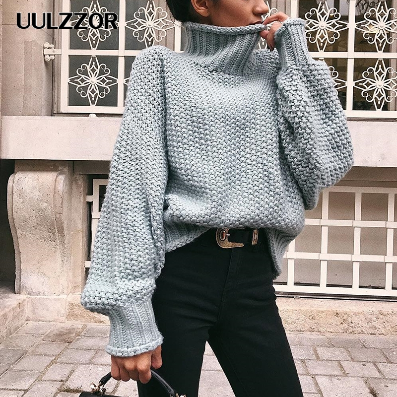 UULZZOR Turtleneck Winter 2019 Knitted Sweater Women Pullovers Casual Orange Sweaters Loose Female Jumpers