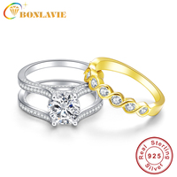 BONLAVIE 2 6Ct Topaz S925 Sterling Silver Ring Set With 18k Gold Plated Tail Ring Real