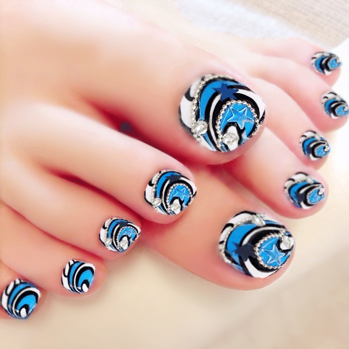 Blue star pattern Japanese cute false nails for toe with decoration ...