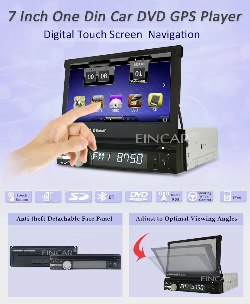 Automotive Parts Car Stereo Headunit MP3 Music CD GPS SAT Electronics DVD Player Multimedia Auto Radio Autoradio In Deck Car Video one din In Dash TFT Touch iPod Remote control HD Camera