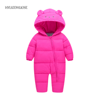 HYLKIDHUOSE 2017 Winter Infant Newborn Rompers Warm Thick Baby Girls Boys Rompers Cartoon Children Hooded Rompers
